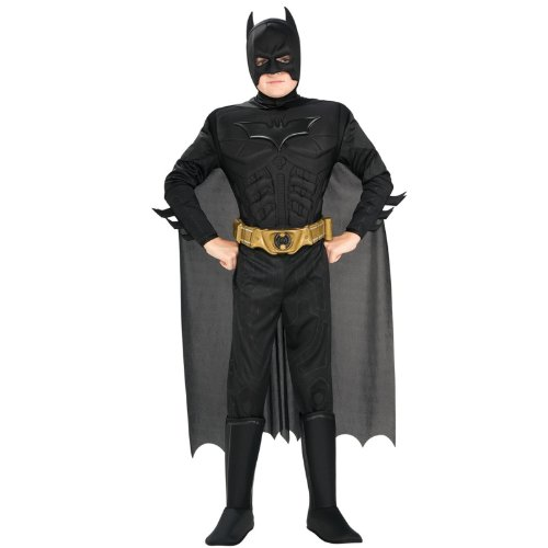 Batman Dark Knight Rises Child's Deluxe Muscle Chest Batman Costume with Mask/Headpiece and Cape - Medium - Boy Knight Costumes