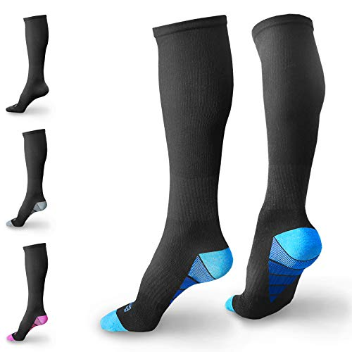 BAMS Premium Bamboo Compression Socks for Men, Women- Antibacterial 20-30 mmHg Medical Graduated Knee-High Sock with New Odor-Kill Technology (Black with Blue Gradient, L/XL (Men 8-15, Women 9-15))