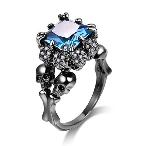 Sapphire Zirconia Cubic Jewelry (DALARAN Women Gothic Ring Black Skull Rings Eternity Band Sapphire Blue Size 6)