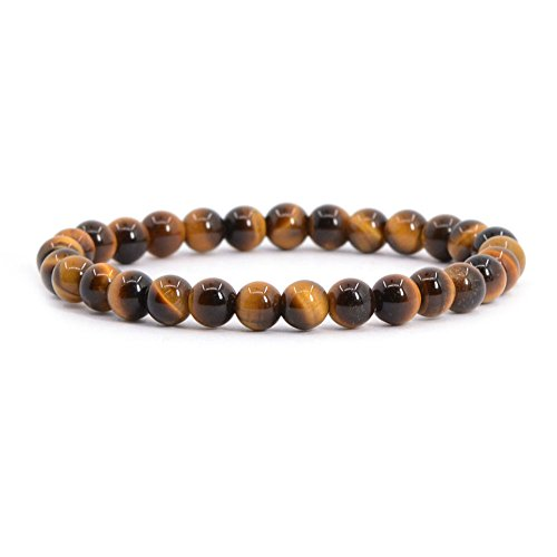 Gemstone Cat Bracelet Eye (Natural AA Grade Golden Tiger Eye Gemstone 6mm Round Beads Stretch Bracelet 6.5