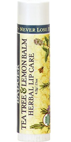 Badger Tea Tree & Lemon Balm – Herbal Lip Care - .15oz Stick (0.15 Ounce Balm)