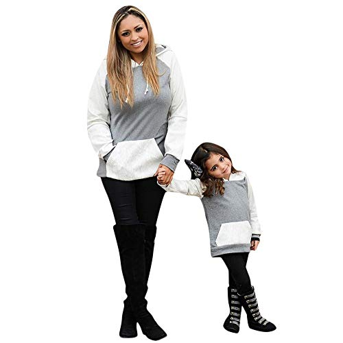 Baby Toddler Girls Sweatshirt Sweater Fall Winter Clothes 2-6 Years Old,Kids Splice Long Sleeve Hooded Casual Top (5-6 Years Old, Gray)
