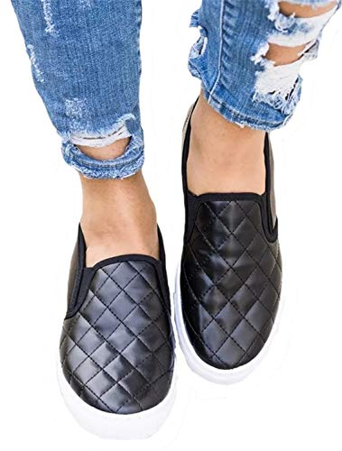 Womens Quilted Plaid Loafers Slip On Flatforms Flats Shoes Platform ()