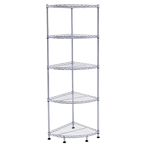 Review Lifewit Corner Shelf 5 Tiers Adjustable Metal Storage Wire Shelving By Lifewit by Lifewit