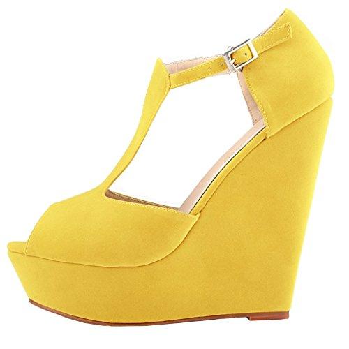 EKS - Zapatos de Tacón Mujer Amarillo - Gelb-Wildleder