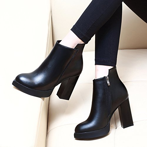 Single Martin Fashion Heel High LBTSQ Boots Black Shoes Joker Pointed Platform Short Boots Waterproof Heel Boots qXUUOB