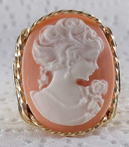 Fine Lady with rose Pink Large Cameo .925 Sterling Silver Ring or 14k Gold gf Art Jewelry HGJ