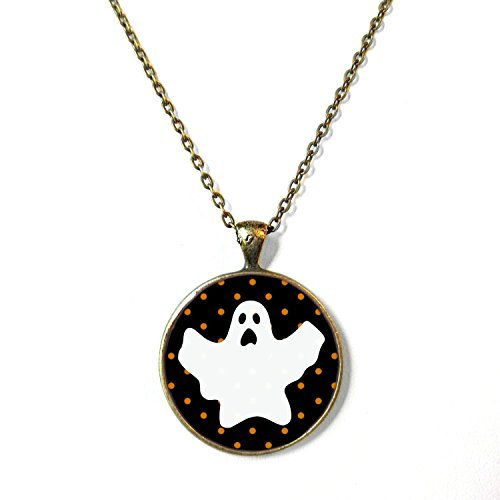 Womens Halloween Costumes Tumblr (Black Polka Dot Ghost Halloween Necklace, 18