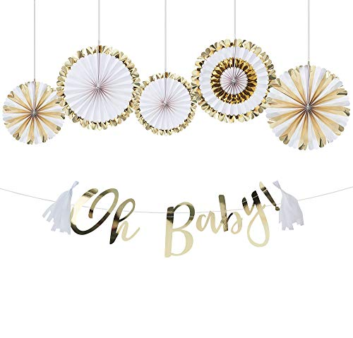 Party City Oh Baby Baby Shower Decorating Kit and Supplies, Includes Paper Fan Decorations and Banner ()