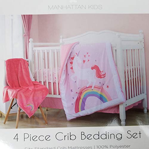 earts Moons Stars Pink Coral White Yellow Green Purple 4 Piece Crib Bedding Set ()