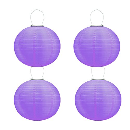 pearlstar Solar Powered Chinese Hanging Lanterns Light Waterproof 8'' Purple Outdoor Nylon Japanese LED Lanterns Decorative for Festival and Wedding (8 Inch, 4Pcs-Purple)