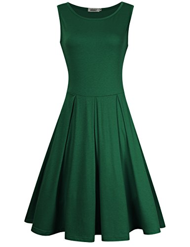 Missky Women Summer Sleeveless Round Neck Knee Length Fit Flare Swing Casual Dress  M  Dark Green