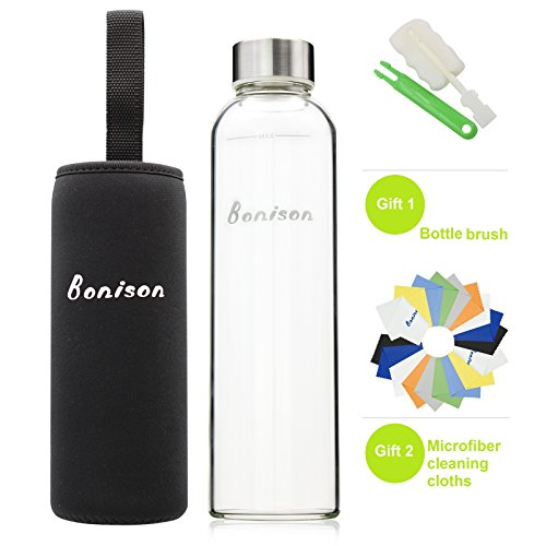 BONISON Stylish Environmental Borosilicate Glass Water Bottle with Colorful Nylon Sleeve (18 oz) (BLACK)