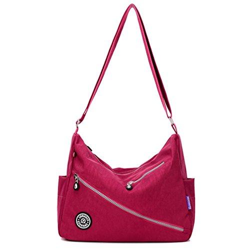 TianHengYi Women's Water-resistant Nylon Cross-body Shoulder Bag Multi Pockets Satchel Purse Claret by TianHengYi