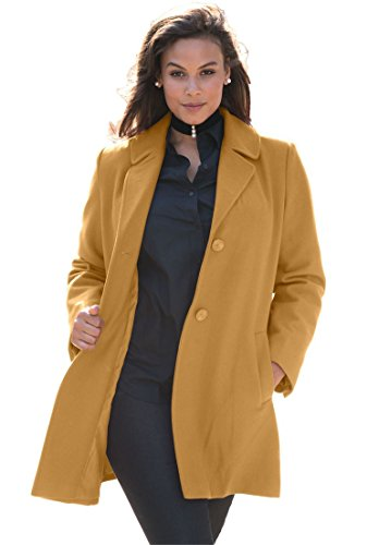Roamans Women's Plus Size Short Wool Coat Classic Camel,26 W