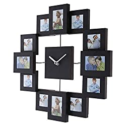 ttnight Photo Frame Clock Wall Clock Multi Picture Aperture Family Picture Frame Clock,Silver Aluminum