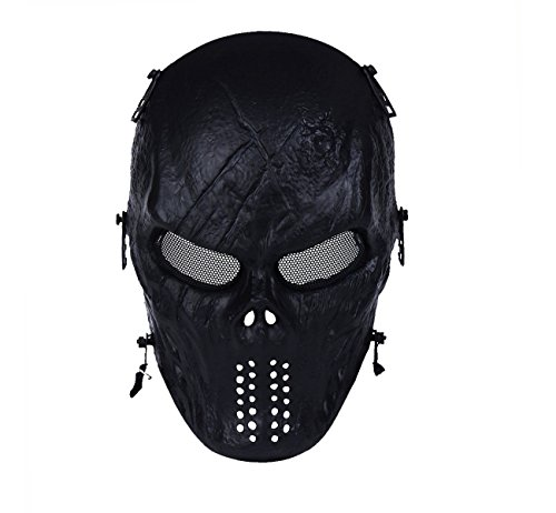 OutdoorMaster Airsoft Mask - Full Face Mask with Mesh Eye Protection (Black) (Camo Hockey Mask)