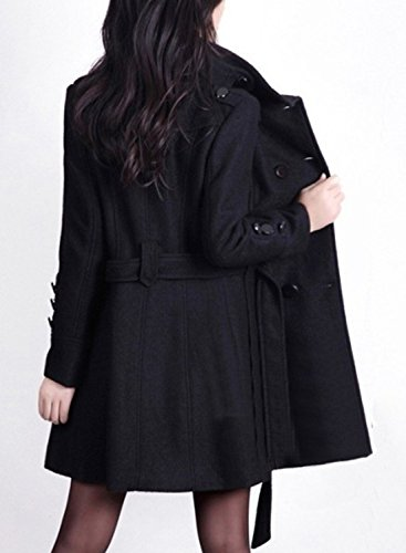 Azbro Women's Fashion Double Breasted Woolen Trench Coat with Belt, Black S