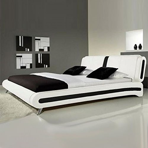Frankfurt & Co Giovanni Modern Faux Leather Bed in Black & White (4FT6-Double, Black) Frankfurt.Co