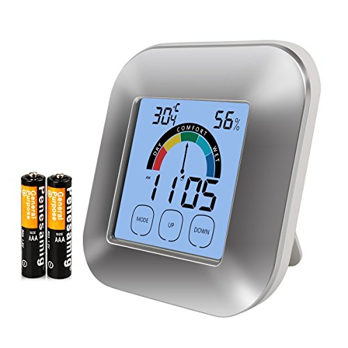 Digital Hygrometer Monitor Indoor Thermometer Accuracy Smart Humidity Temperature Gauge with Touchscreen Backlight Timer - Track Switch Rh Remote