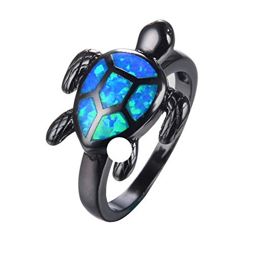 Fat Girl Turtle Costume (Ring Turtle Blue Fire Opal Black Gold Filled Jewelry Size 6-10 Rings)