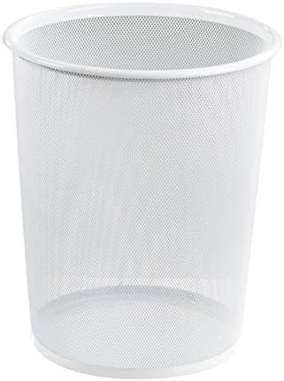 Papierkorb Papiereimer Büroeimer | Metallgeflecht | Weiß | Höhe 35,5 cm | Fassungsvermögen 10 Liter
