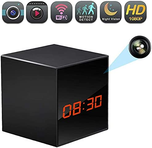 WiFi Hidden Clock Camera, Wireless Nanny Spy Cam with Alarm Clock, Night Vision, Motion Detection, App Control Remote Viewing for Home Office Security