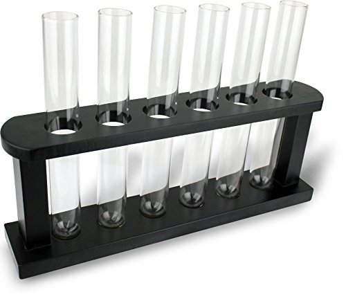 Clear Glass Test Tube Shot Glasses 6 Pcs Set with Holder Rack - Funny Shooters for Bottoms Up Birthday Bachelorette Party Shots - by Perfect Life Ideas
