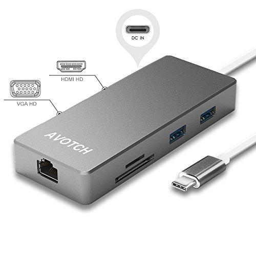 AVOTCH USB-C Digital AV Multi-port Adapter, USB C Hub,3.1 Type C Hub, HDMI VGA Dual screen display Output, Card Reader, 2 USB 3.0 Ports and Gigabit Ethernet Adapter- Grey by AVOTCH
