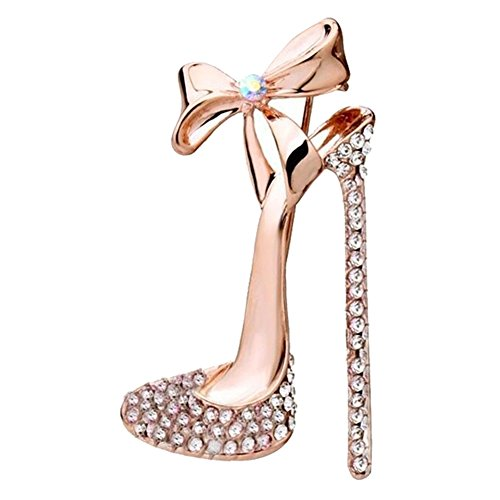 Topdo 5 Colors Women Girls' Fashion Artificial Crystal High-Heel Shoes Brooch Charm Rhinestones Shoes Breastpin with Butterfly Bow-Golden White