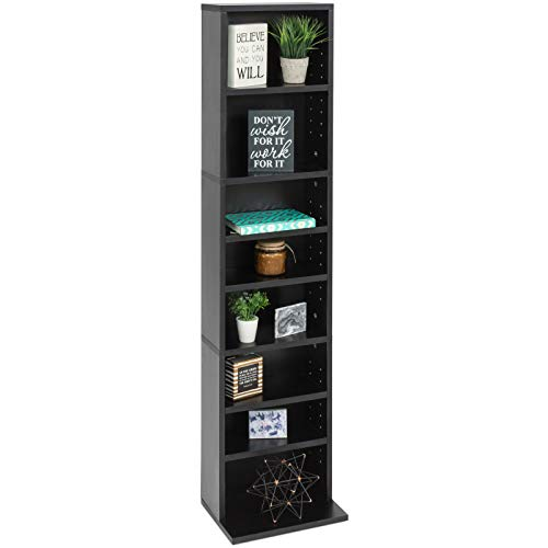 (8-Tier Media Storage Cabinet Tower Bookcase with Adjustable Shelves Weight Capacity of 150lbs Ideal for Organizing Your Collections of CDs DVDs Video Games and Books with Style Space Saving Furniture)