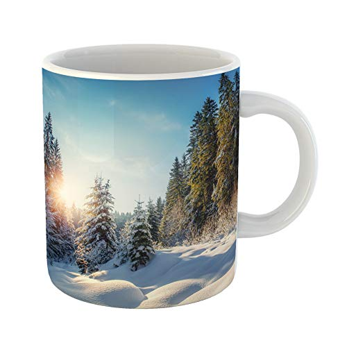 Emvency Coffee Tea Mug Gift 11 Ounces Funny Ceramic Edmonton Wonderful Winter Landscape Perfect Sky at Sunny Day Mountain Gifts For Family Friends Coworkers Boss Mug -