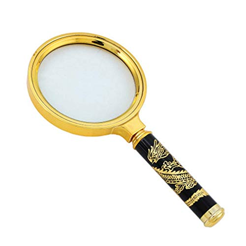 SCJS Hand-held Magnifying Glass, Classical 10 Times Magnification Optical Glass Lens Metal Frame Carved Dragon Handle, Easy for The Elderly to Read Newspapers Children Students Explore Nature Exp