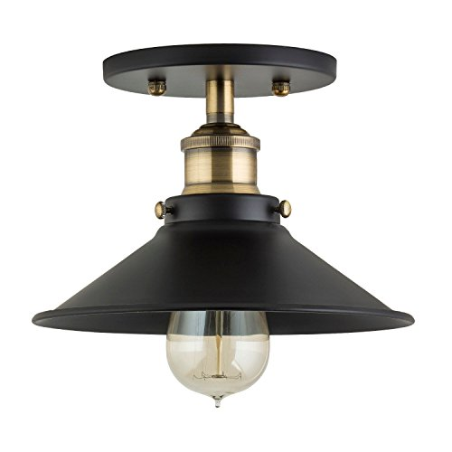 Linea Di Liara Andante Industrial Factory Semi Flushmount Ceiling Lamp    Antique Brass One Light Fixture With Metal Shade Exposed Hardware   5 Inch  Canopy ...