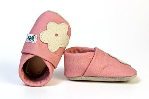 """Krabbelschuhe Lederpuschen Krabbelpuschen Rosa """" Flower """""""