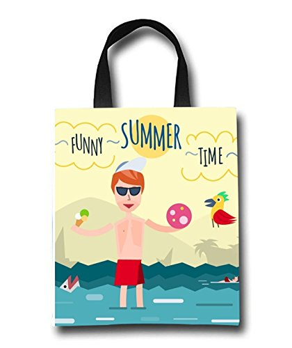Funny Summer Time Beach Tote Bag - Toy Tote Bag - Large Lightweight Market, Grocery & Picnic by Linhong