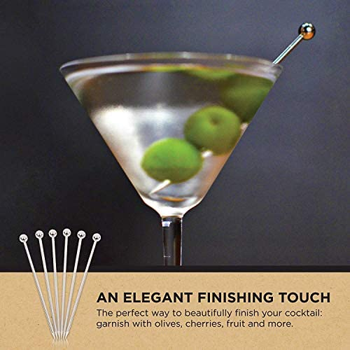 Iceblueor Cocktailspieße, aus Edelstahl, 11 cm, 10 Stück