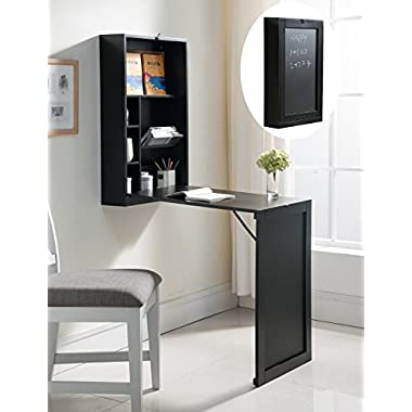 Kings Brand Wall-Mounted Fold-Out Convertible Writing Desk (Black)