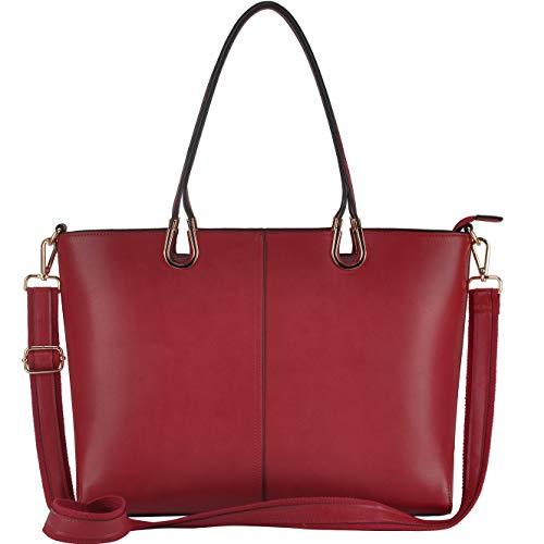 Laptop Tote Bag,Large 15.6 Inch Laptop Bag,Work Tote Bag Handmade Metal Handle,Red
