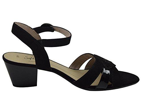 28361, Sandalias de Talón Abierto para Mujer, Negro (Black), 39 EU Soft Line
