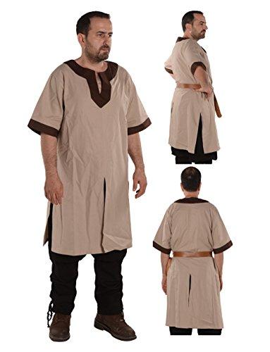 (byCalvina - Calvina Costumes Loki Medieval Viking LARP Renaissance Linen-Look Cotton Mens Tunic-Made in Turkey -Bei/BRW M)