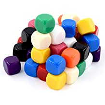 16mm Blank Multicolor Dice - Pack of 50 Opaque Blank 6 Sided Dice Die Great for DIY, Teaching Cubes, Dungeons and Dragons Role Play MTG Broad Game Parts