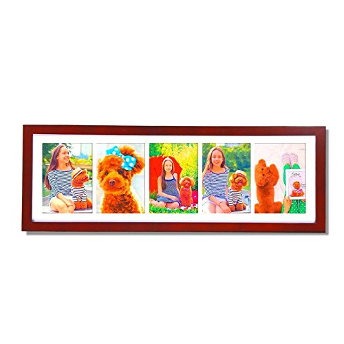 Adeco[PF0288] Decor Walnut Color Wood Wall Hanging Picture Photo Frame with Mat, 5 Openings, 5x7