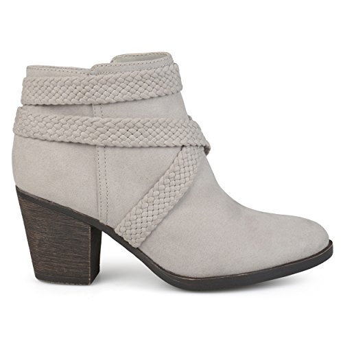 Brinley Co. Womens Sadie Faux Suede Almond-Toe Crisscross Strap Booties Grey, 8 Regular US