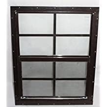"""Shed Window 18"""" X 23"""" Brown Flush Mount, SAFETY/TEMPERED GLASS Storage Shed , Playhouse"""