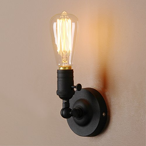Price comparison product image Pathson Loft Vintage Wall Lamp 1 Head with Candlestick Molding Design Industrial Rustic Retro Wall Light 180 Degree Rotated Metal Base Cap Fixture Flush Mount Wall Sconce (Bulbs Not Included)