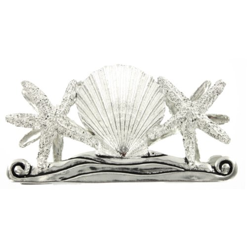 Pewter-Starfish-Scallop-Seashell-Napkin-Envelope-Holder