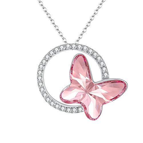 (EleQueen 925 Sterling Silver CZ Butterfly Circle Pink Made with Swarovski Crystals Pendant Necklace)