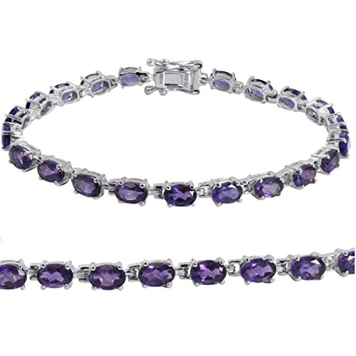Gemstone Tennis Bracelet in Sterling Silver Choose from Amethyst, Blue Topaz or Peridot