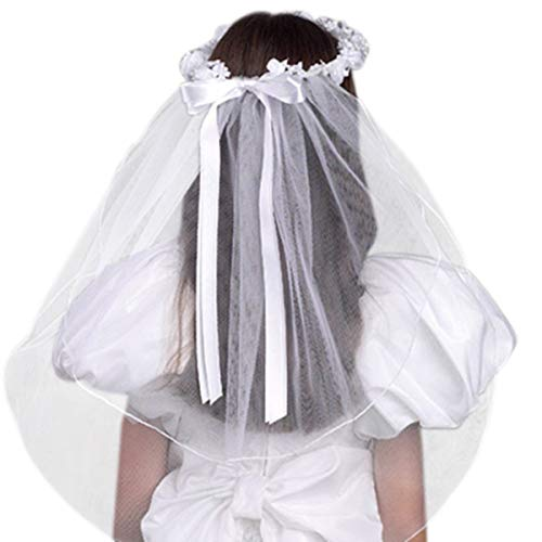 Girls First Communion White Tulle Veil with Beaded Flower Crown and Satin Bow, 22 Inch ()